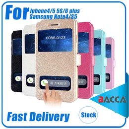 Soportar pulgadas en Línea-Para el iPhone 5S 5 incorporado en la ranura para tarjetas de seda Flip de cuero patrón de la caja de 4.0 pulgadas de soporte para el teléfono móvil de doble vista de la ventana de PU