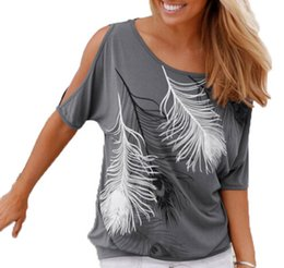 2017 Las mujeres del verano imprimieron las camisas sin tirantes del O-cuello de las camisetas de la camiseta short-sleeved del hombro flojamente Tipo desde tipos de pantalones cortos para las mujeres fabricantes
