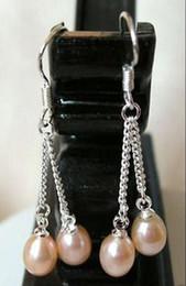 925 Sterling silver Genuine 6-7mm pink Cultured Freshwater Pearl Dangle Earrings