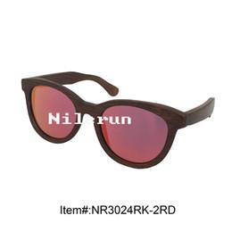 luxury big cat eye shape red polarized lens brown bamboo frame sunglasses