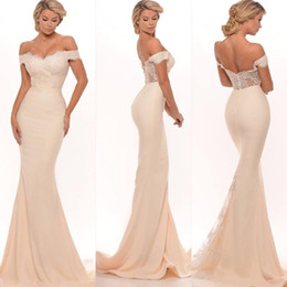 Champagne Bridesmaid Dresses 2016 Sexy Mermaid Off Shoulder Lace Appliques Zipper Back Sweep Train Long Maid of Honor Prom Dress