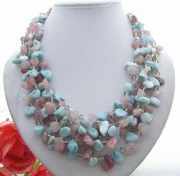 Beaux colliers à vendre-Beau! 5Strds Collier LarimarSunstone