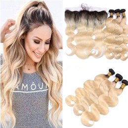 Two Tone 1B 613 Ombre Brazilian Virgin Human Hair Weaves With Frontal Body Wave Blonde Ombre 13x4 Lace Frontal Closure With 3 Bundles