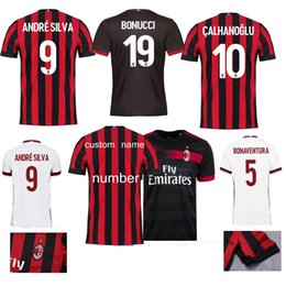 2018 AC Milan home Soccer Jersey 17 18 AC Milan Soccer Shirt Customized #10 CALHANOGLU #9 ANDRE 8#SUSOfootball uniform Sales size s-4x
