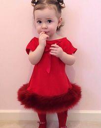 2016 nouvelles robes de filles de noël 2016 hiver nouvelle fille de Noël rouge robes Faux fourrure Patchwork épais fille princesse robe enfants vêtements 8185 budget nouvelles robes de filles de noël