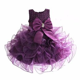 Wholesale Girls Dresses for Party and Wedding Brand Kids Dress Princess Girls Costume Clothes Big Bow Children Ball Gown with Pearl