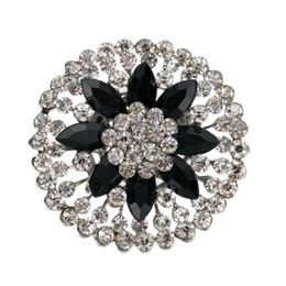 Rhodium Silver Vintage Style Black Resin lower Rhinestone Crystal Brooch Party Pins Acrylic Black Marquise Crystals
