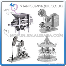 Wholesale DHL Piece Fun D building Metal Puzzle Oil Pumping Projector Thresher Projector Merry go round Adult models educational toy
