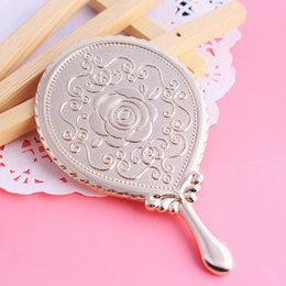 Wholesale milesi brand Rose vintage handle Makeup Mirrors oval vanity small mirror Pocket portable new Shaped Design air espelho H0037