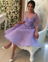 Compra Online Damas mini vestido vestido-2017 Púrpura corto de tres cuartos de manga chica Lady Cocktail Vestidos Vestido con Appliques botón de espalda Princesa corto vestido de baile