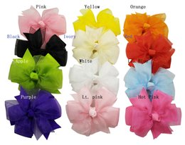 """3"""" Grosgrain & Oarganza Ribbon Double Layer Pinwheel Bow Headwear clip 50pcs lot"""
