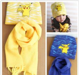 Wholesale Poke Mon Winter Warm Cartoon Hat Scarf Set for kids Knitted Poke Pikachu Soft Warm Beanie Cap Long Scrarves for Baby years kids L001