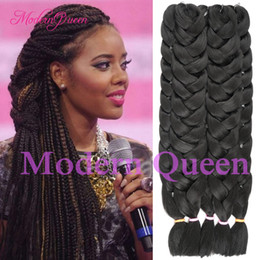 Wholesale Cheap Braided Hair Extensions - Cheap 1 PIECE Kanekalon Jumbo Braiding Hair Colors 82''165G Black Burgundy Brown Gray Blonde Synthetic Crochet Box Braiding Hair Extensions