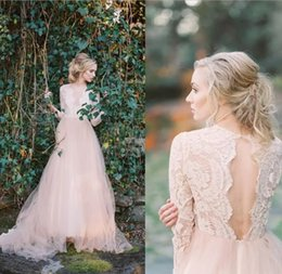 Bohemian Blush Pink Lace Top Wedding Dresses With Long Sleeves Sexy V Neck Tulle Boho Beach Bridal Dresses Open Back Country Wedding Gowns