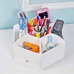 Caja de joyería de madera organizador almacenamiento caja de maquillaje caja de vanidad almacenamiento cosmético con 2 cajones EE.UU. desde almacenamiento de maquillaje de madera fabricantes