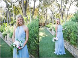 2018 Modest Long Bridesmaid Dresses Light Sky Blue Halter Neck Ruffle Chiffon Plus Size Country Wedding Party Guest Dresses Cheap