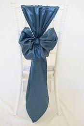 2017 arcs décorations mariage Custom Made 2017 taffetas 3D Bow chaise couvre Vintage romantique chaise écharpes belle décoration de mariage de mode 02 arcs décorations mariage à vendre