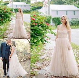 2017 Garden Sexy A-line Bohemian Beach Wedding Dresses Vestido De Noiva Custom Long Train Plus Size Tulle Summer Simple Wedding Bridal Gowns