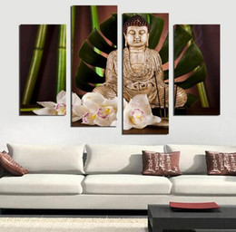 4 Panel Buddhism Buddha Canvas Painting Antique Buda picture Wall Art Home decoration for living room no frame