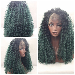 New Sexy Afro kinky curly hair black ombre green curly wigs for black women glueless synthetic lace front wigs with baby hair