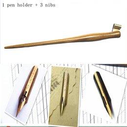 2017 sistemas de la pluma de madera Venta al por mayor-hecho a mano de madera maciza Oblícua caligrafía copperplate escritura de mano escribir pluma pluma conjunto con 3 plumas sistemas de la pluma de madera baratos