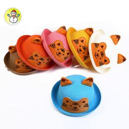 New Cartoon Tiger Children Straw Hat Flanging Boys Girls Beach Sun Hat 2-5 Yeas Old Kids Dome Cap KIDS-7 Whosales