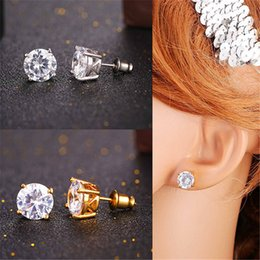 U7 Cubic Zircon Crystal Stud Earrings Gold Platinum Plated Round Square Stud Earrings for Women Men Luxury Jewelry Perfect Gift Accessories