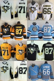 Youth Pittsburgh Penguins 87 Crosby 71 Malkin 66 Lemieux White Black Blue Yellow Ice Hockey Jerseys Good quality hot selling for kids