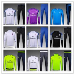 Wholesale 2016 new real madrid soccer training suits Uniforms shirts football tracksuits Survetement long sleeve real madrid trainingsuit
