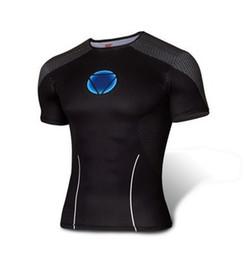 Promotion cuissard vente Hot Sale Nouveau Hommes Sport Fitness Compresse T-Shirt Super Héros Cyclisme Jersey Haute Élasticité Quick Dry Collants Short Sleeve