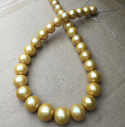 """18"""" 11-12mm south sea natural gold pearl necklace 14k yellow golden clasp"""