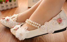 Manual wedding shoe High with waterproof Taiwan white dresses the bride shoes low han edition flower dress with diamond single women