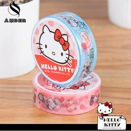 Acheter en ligne Masque de chat-Vente en gros - 2016 15mm * 5m Cute Cartoon Hello Kitty Ruban décoratif Washi Ruban adhésif Scrapbooking Masque Ruban scolaire Escolar Papelari