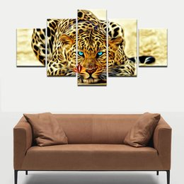 5 Pieces Wall Decor Painting Abstract Leopards Wall Art Canvas Picture For Living Room Home Decoration Picture Wall Decor Art