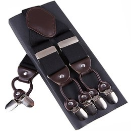 Fashion Suspenders leather alloy 6 clips Braces Male Vintage Casual suspensorio Trousers Strap Father Husband's Gift 3.5*120cm
