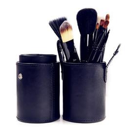 Almacenamiento de maquillaje de madera en Línea-Maquillaje Pinceles 12 PCS púrpura Maquillaje cepillo cosméticos Set Sombra de madera cepillo Blusher herramientas con estuche de almacenamiento