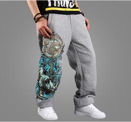 2016 comprimento cintura quadril Atacado- Men's Loop respirável Inverno Wear Baggy Calças Hip-hop Basculadores Sweatpants Padrão impresso cintura elástica Full-Length Calças acessível comprimento cintura quadril