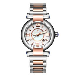 Ladies watch fashion leisure calendar table all stainless steel waterproof quartz watch wholesale students free of charge