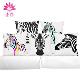 muchun Brand Zebra Style Christmas Cotton&Linen Sofa Throw Pillow Cover 45*45 cm Square Halloween Party Home Thicken Decorative Pillow Case