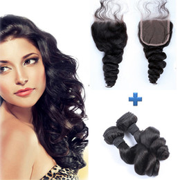 Resika Good Hair Products 2Bundles Hair Weave With 4*4 Top Lace Closure Natural Color Loose Wave Human Hiar Extensions Free Shipping