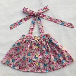Wholesale hot selling high quality girl dress cotton printing belt skirt wooden buckle decorative dress skirt baby girl floral dress