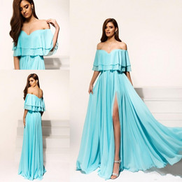 2017 Chic Off The Shoulder Split Side HIgh Prom Dresses A Line Chiffon Beach Country Style Long Bridesmaid Dresses Custom Made Evening GOwns