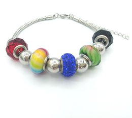 JLN European Beads Bracelet Snake chain Glass Crystal Spacer Roundel Charm Big Hole Beads Bracelet DIY Jewelry For Man Women 0112