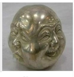 Metal Crafts tibetan silver 4 faces buddha head statue Tibet Silver decoration bronze factory outlets
