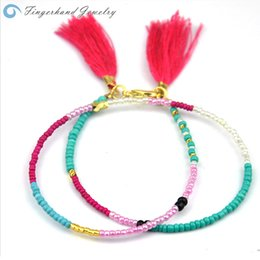 Wholesale Best Selling Red Tassel Woven Bracelet for Women New Type Friendship Glass Bead Bohemia Mix Color Fashion Charms