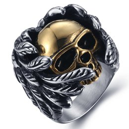 Wholesale hot selling stainless steel jewelry cool feather skull anti rust retro titanium steel fashion designer mens rings