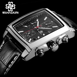 SIHAIXIN Mens Watch Mens Top Quality Watches Luxury Brand Military Sport Wrist Watch Chronograph Luminous Leather Quartz Watch