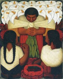 Wholesale Diego Rivera flowers famous paintings for sale Feast of Santa Anita High quality modern art on canvas Hand painted