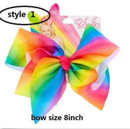 Wholesale 10style available JOJO SIWA inch LARGE Rainbow Signature HAIR BOW wich clip baby girl Children Hair Accessories