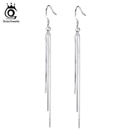 ORSA JEWELS New Arrival Long Dangling Tassel Silver Color Earring for Women Jewelry Hot Sale Lead & Nickel Free Earrings OE88